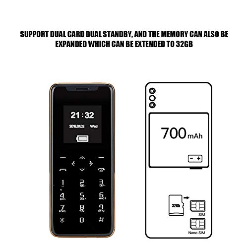 ASHATA 1.54in Mini Touch Control Smartphone Bluetooth Dual Card Double Standby Button Card Cellphone, Support 32Gb Memory Card