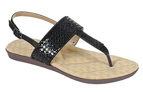 Cambridge Velge Klær-t-rem Tanga Krystall Rhinestone Glitter Slingback Flat  Sandal Svart