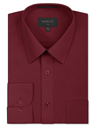Ward St Men's Regular Fit Dress Shirts, Small, 14-14.5N 32/33S, Burgundy