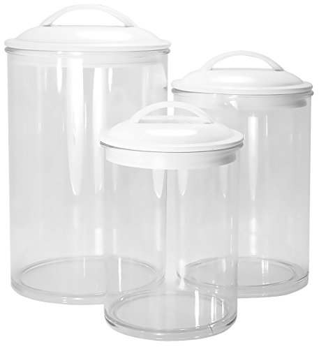 Calypso Basics by Reston Lloyd Acrylic Storage Canisters, Set of 3, White Clear Acrylic Canister Set