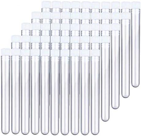 Fransande 200 Pi/èCes S/éRies Tube /à Essai en Plastique Transparent avec Bouchon 12X100Mm en Forme de U Bas Long Tube /à Essai Transparent Fournitures de Laboratoire