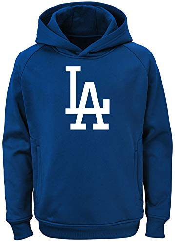 Outerstuff MLB Youth 8-20 Team Color Polyester Performance Primary Logo Pullover Sweatshirt Hoodie (Medium 10/12, Los Angeles Dodgers) ()