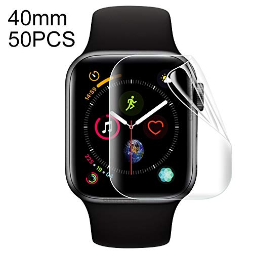 QGTSCREENPROTECTOR 50 PCS for Apple Watch Series 5 & 4 40mm Soft Hydrogel Film Full Cover Front Protector by QGTSCREENPROTECTOR