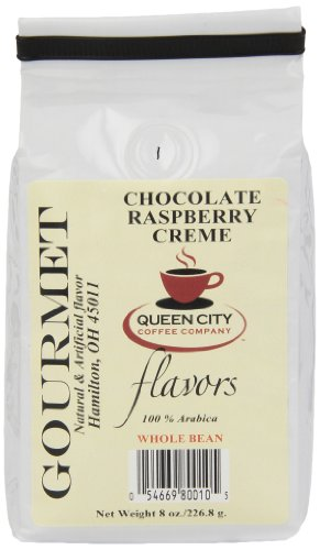 Queen City Chocolate Raspberry Creme Flavored Whole Bean Coffee, 8-Ounce Bags (Pack of 3), Package May Vary