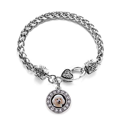 Inspired Silver - The Poodle Braided Bracelet for Women - Silver Circle Charm Bracelet with Cubic Zirconia Jewelry