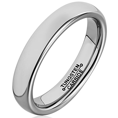 MNH Tungsten Carbide Ring Men Women 4mm Polished Engagement Wedding Band Comfort Fit Domed Classic Design (Design Comfort Fit Wedding Ring)