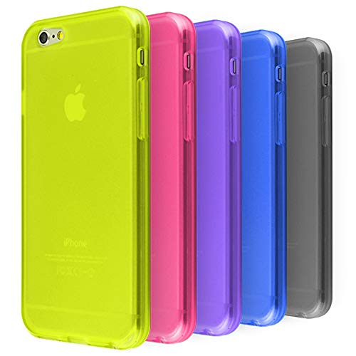 Ace Teah 5 Pack TPU Transparent Case,Compatible for iPhone 6/ 6S, Flexible TPU Transparent Colorful Case for Girls Protective Case (Black, Blue, Plum, Purple, Yellow)