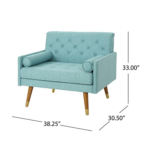 Christopher Knight Home 305842 Nour Fabric Mid-Century Modern Club Chair, Blue, Natural - 6