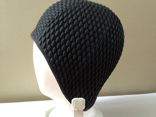 (Aquapro Retro (Vintage) Black Bubble Crepe Swim/Bathing Cap with Chin Strap)