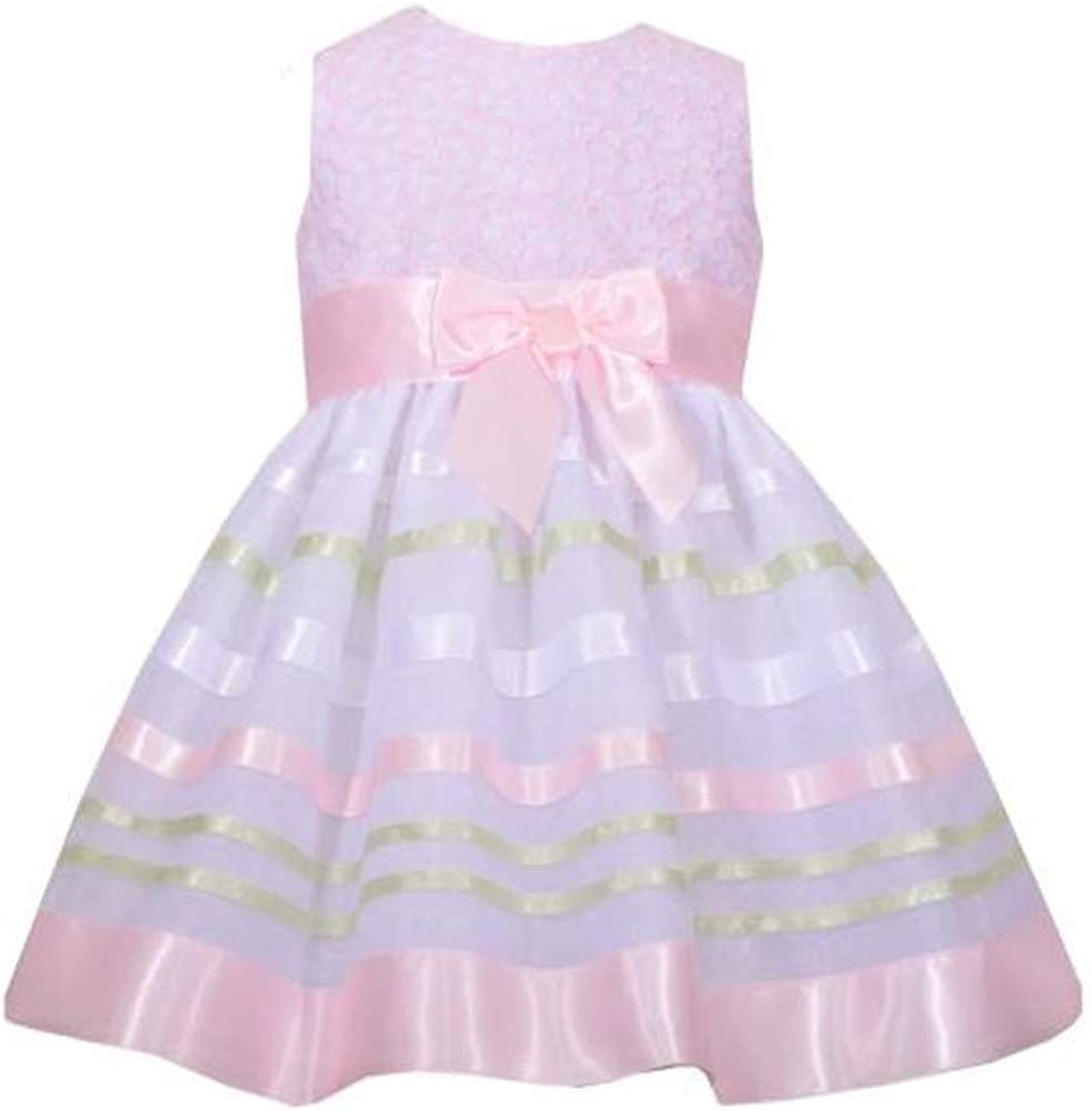 Bonnie Jean Girls Multi Color Stripe Easter Spring Summer Party Dress 2T 5T