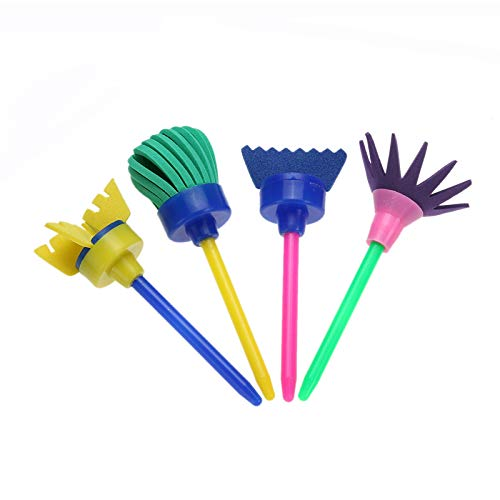 Vann92 スポンジ ペイントブラシ 4本 異なる形状 子供用 DIY 花 グラフィティ 水彩画 スポンジ アート おもちゃ オフィス用品