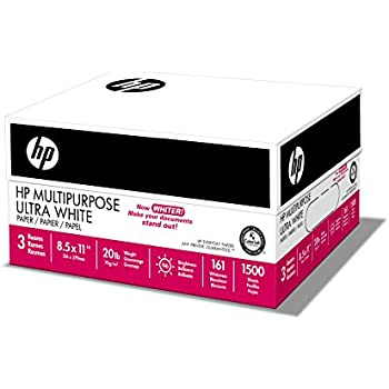 HP Paper, Multipurpose Ultra White, 20lb, 8.5x11, Letter, 96 Bright, 1,500 Sheets / 3 Ream Case, Made In The USA