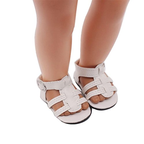 Price comparison product image LLguz Cute Design Doll Shoes Sandals Clothes for 18 Inch Our Generation American Girl Doll (White)