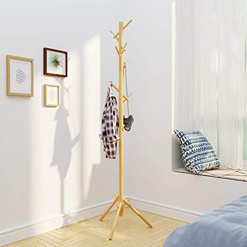 BAMEOS Bamboo Tree Coat Rack Stand- Easy Assembly NO Tools Required – 3 Adjustable Sizes Free Standing Coat Rack, Coat Hanger Stand for Clothes, Suits, Accessories 8 Hooks,Natural Color