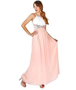 Krisp Contrast Diamante Prom Maxi Dress (Cream/Pink, US 8 / UK 12),[5274-CRMPNK-12]