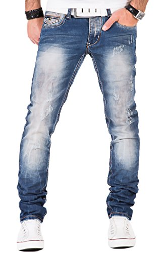 Japan Style Herren Jeans Denim Hose Vintage Clubwear Chino Used Fit Blau