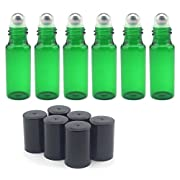 Amazon Lightning Deal 64% claimed: ABOEL™ 5ml Green Glass Roller Bottles--Set of 15 With Metal Ball for Essential Oil,Aromatherapy,Perfumes and Lip Balms