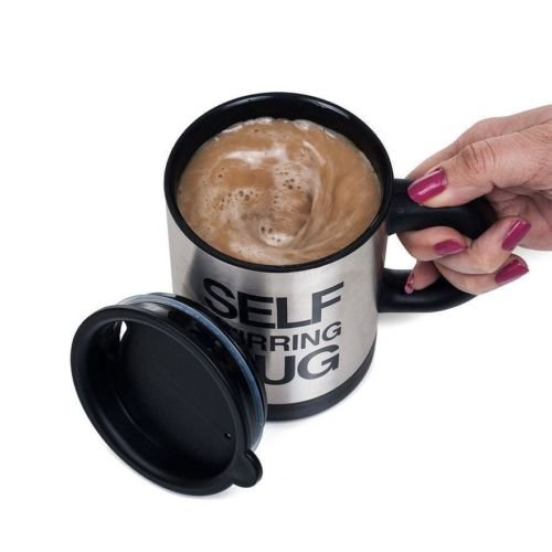 Self Stirring Coffee Mug (Black/Silver) - 5