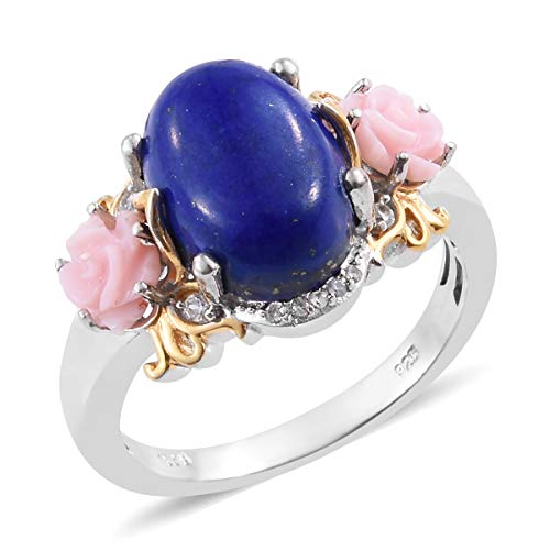 Lapis Lazuli Pink Opal Promise Ring 925 Sterling Silver Platinum Plated Gift Jewelry for Women Size 8