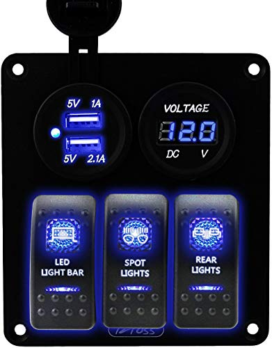 Iztoss 3 Gang Rocker Switch Panel with DC12V/24V Voltmeter 3.1A(2.1A+1A) Dual USB Wiring Kits and Decal Sticker Labels DC12V/24V for Marine Boat Car Rv Vehicles Truck Blue led