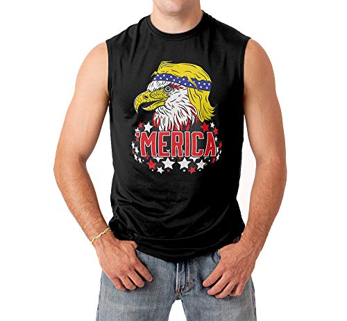 Eagle 'Merica Men's Sleeveless Shirt (Black, X-Large) -