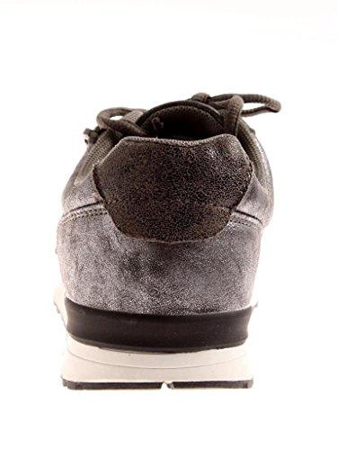 RUSHOUR lacets vieilli bronze Baskets à lacets à tendance argent brillant Chaussures r6Prw