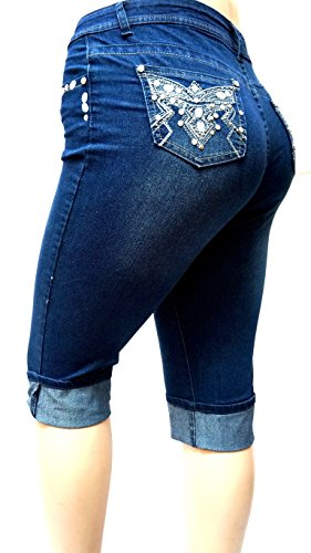 943c5739933 D B PLUS SIZE WOMEN S Stretch premium DARK BLUE denim jeans CAPRI HIGH WAIST  low-cost