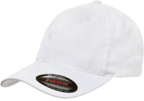 Flexfit Low-profile Soft-structured Garment Washed Cap (White, Large/X-Large) ()