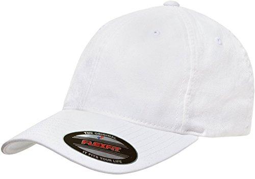 Flexfit Low-profile Soft-structured Garment Washed Cap (White, Large/X-Large)