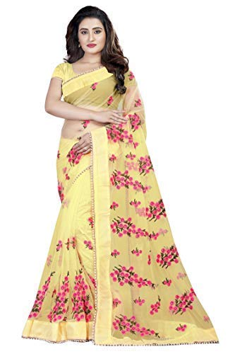 bf03650af8 Orangesell Women's Mono net Embroidery work Saree With un-stitch Blouse  Piece (Gold_Free Size