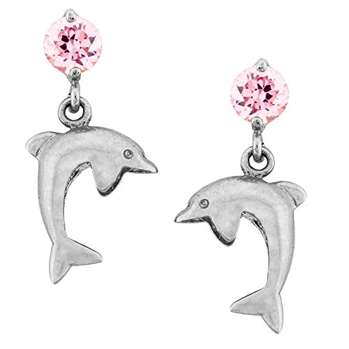 14K Gold Dangle Dolphin Stud Kids Earrings With Safety Screw Backs (white-gold)