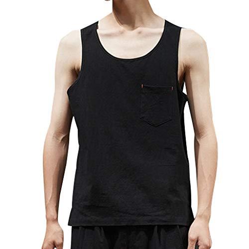 Mens Summer Casual Fashion Pure Color Cotton Linen Sleeveless Vest Top Blouse Black