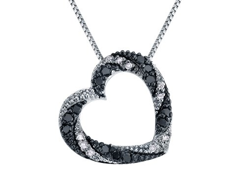 White and Enhanced Black Diamond Heart Pendant Necklace 1/4 Carat (ctw I3, Single Cut) in Sterling Silver ()