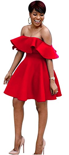 Short Sleeve Off The Shoulder Ruffled Ruffle Hem Empire Waist Highwaist Mini Pleated A-Line Dress Red S