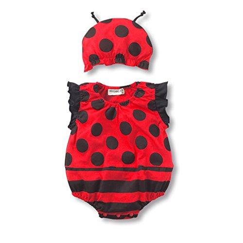 (Fairy Baby Baby Unisex Cartoon Onesie Sleeveless Bodysuit and Hat Set,10-15M,Red Ladybug)