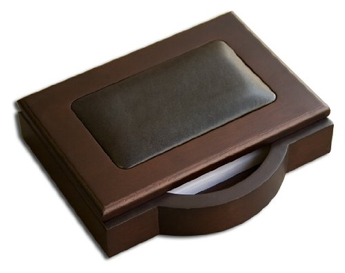 Dacasso Walnut and Leather Memo Pad Holder, 4-Inch by 6-Inch by Dacasso