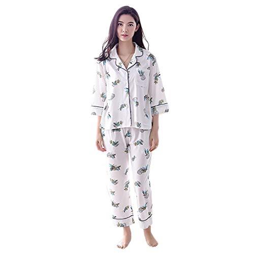 Elegante Para Conjunto Fashion Manga Mujer Pijamas Otoño Larga V Blanco El Bastante Primavera cuello Pantalones Pijama Hogar De Ropa Largos Impresión vg5q1