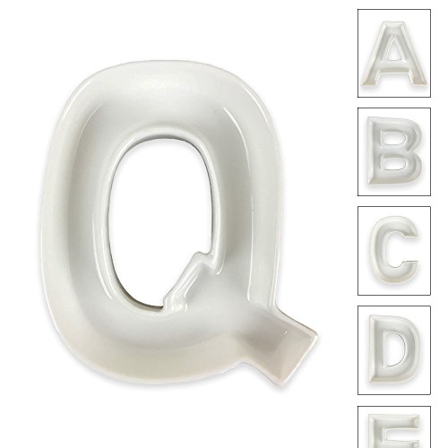 Just Artifacts - 5.5inch White Ceramic Letter Dish - Letter: Q - Decorative Dishes for Weddings, Anniversarys, Baby Showers, Birthday Parties and Life Celebrations! (Wedding Ceramic)