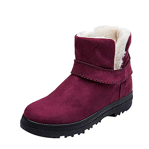WOCACHI Boots for Womens, Women Fashion Solid Warm Winter Flat Snow Short Boots Round Toe Shoes Booties Slippers Oxford Loafer Flats Pumps Winter Spring 2019 Novelty Off from WOCACHI
