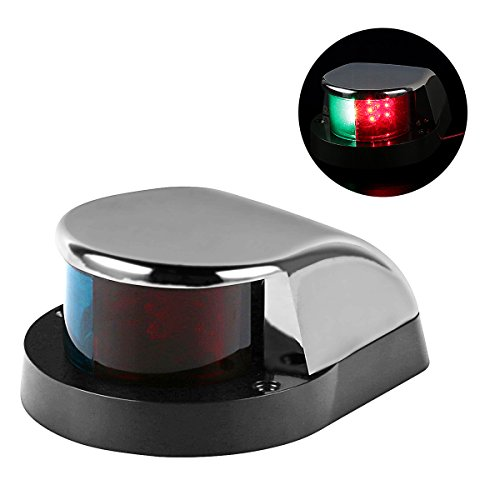 LEANINGTECH Boat Marine LED Navigation Lights Marine Navigation Lamp, Stainless Steel Shell, Red and Green LED for Boat Pontoon Yacht (Stainless Led)