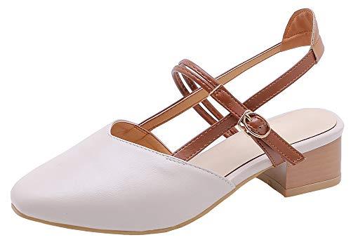 (Mofri Women's Elegant Buckle Square Toe Slingback Chunky Low Heel Pumps Shoes Sandals (Beige, 10 M US))