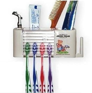 Ángel oso plástico cepillo de dientes plástico rack Holder Soporte con ventosa, y gancho para guardar servilletas, limpiador de lengua, tazas (color ...