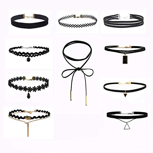 Seacity Choker Set for Ladies Women Girls,Black Velvet Choker Necklace Set Classic Gothic Tattoo Lace Chokers for Party Gift(10PCS) (Cheap Tattoo Choker)
