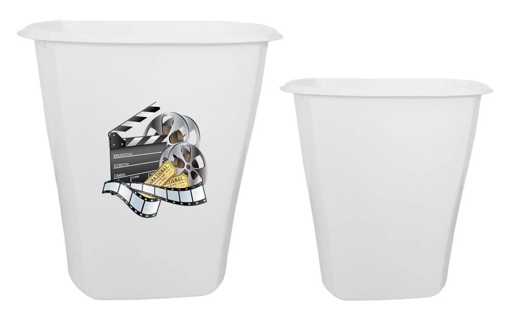 The Furniture Cove 2-pc set! 5.5 Gallon White Plastic Trash Can With Your Favorite Novelty Theme Decal and a 3 Gallon White Plastic Trash Can - FREE Trash Bags Included (Movie Reel)