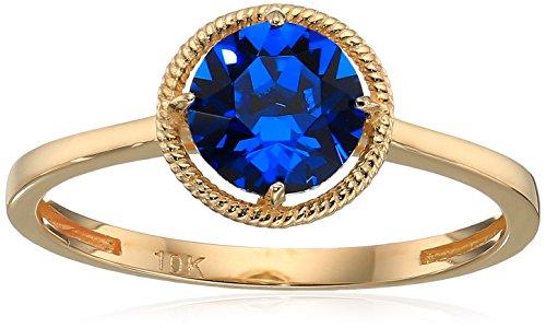 (10k Gold Swarovski Crystal September Birthstone Ring, Size 7)