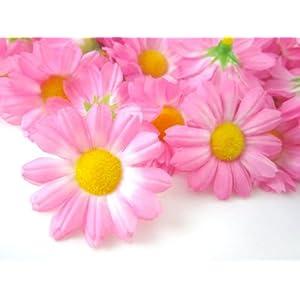 "(24) Silk Pink Gerbera Daisy Flower Heads , Gerber Daisies - 1.75"" - Artificial Flowers Heads Fabric Floral Supplies Wholesale Lot for Wedding Flowers Accessories Make Bridal Hair Clips Headbands Dress 99"
