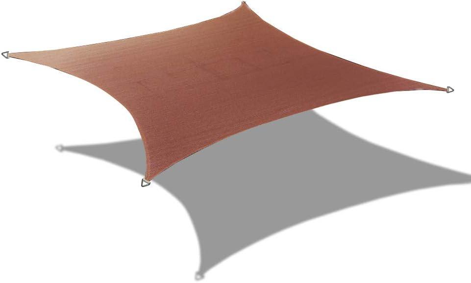 Alion Home 14' x 16' Rectangle PU Waterproof Woven Sun Shade Sail (1, Pecan Brown)