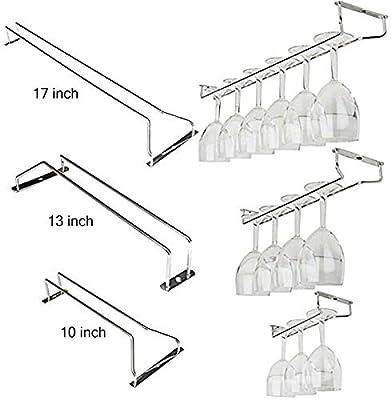 10 inch Amatt Wine Glass Rack Stainless Steel Under Cabinet Wine Rack Glass Holder Hanging Hanger Chrome Stemware Holder for Bar Kitchen