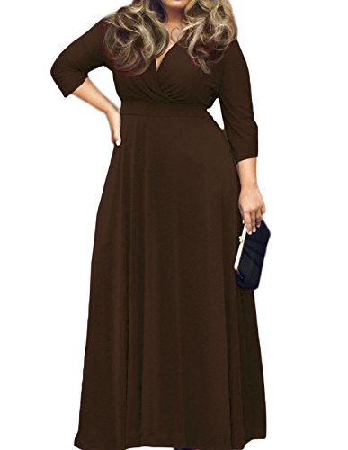 - POSESHE Women's Solid V-Neck 3/4 Sleeve Plus Size Evening Party Maxi Dress (XXXXL, Coffee)
