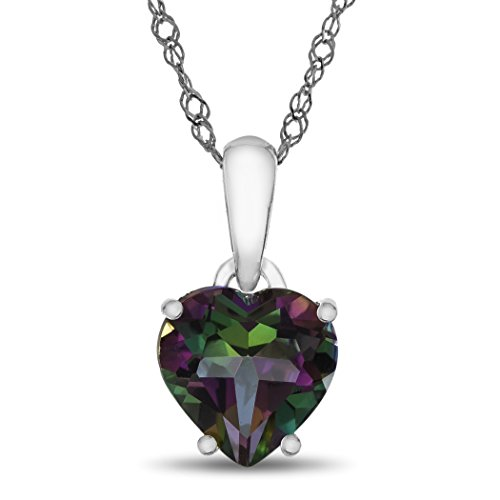 Finejewelers 10k White Gold 7mm Heart Shaped Mystic Topaz Pendant Necklace